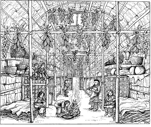 Iroquois Nation Crystalinks Longhouse Coloring Page
