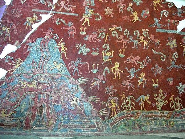 Portion of the actual mural from the tepantitla compound for El mural de bonampak