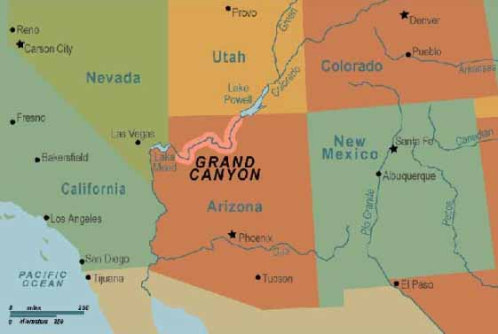 Grand Canyon Science History Mythology And Conspiracies - Grand canyon location on us map