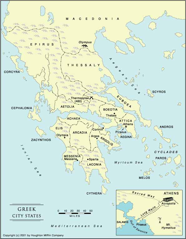 Ancient Greece Map With Cities.Greek City States Crystalinks