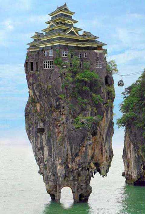 weird floating mountain house
