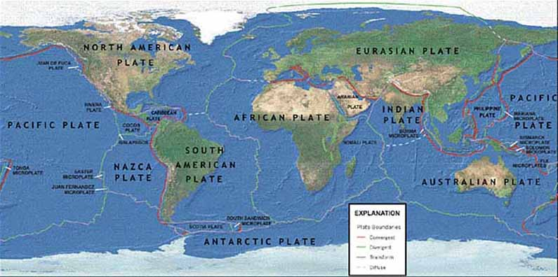 Plate Tectonics Crystalinks - Pate boundaries off the coasts us map