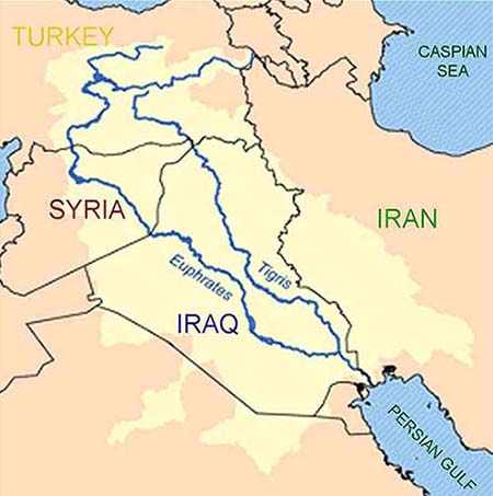 where tigris and euphrates rivers meet