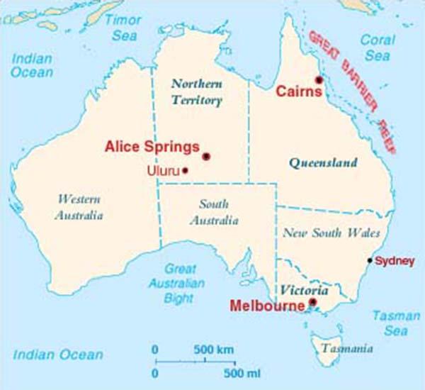 Map Of Australia Showing Uluru.Ayers Rock Uluru Crystalinks