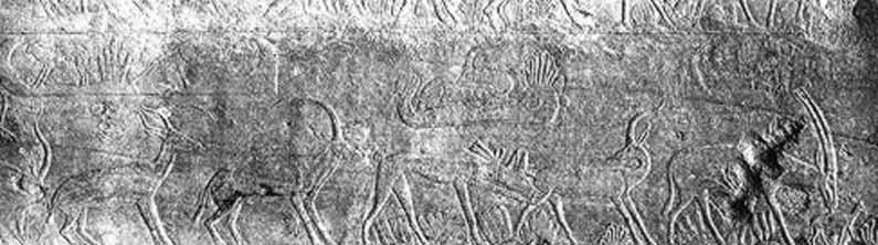 図3:第5王朝期のレリーフ。砂丘上に野獣や小木が描かれている。