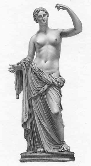 Roman statues and portraits of Venus are usually identical to the Greek