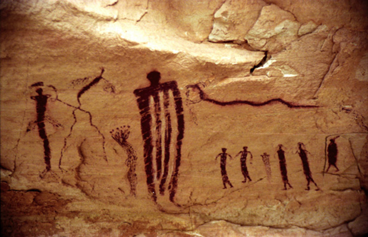 Pictograph Rock Art At Seminole State Historical Park, TX Stock ...